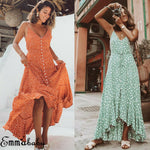 Women Dot Boho Long Maxi Dress Woman Lady Party Summer Beach V neck Backless Sundress Streetwear Vestidos 2019 NEW Arrival - ShopyMart