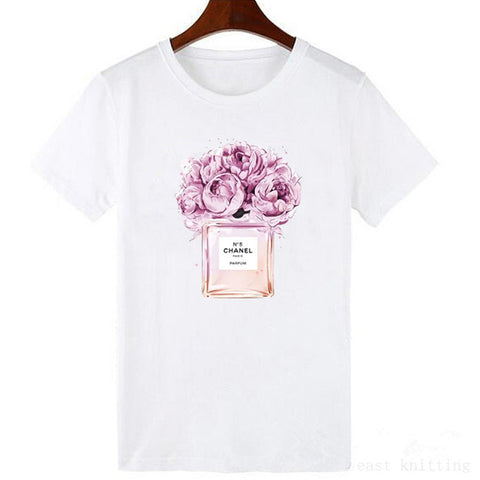 New harajuku t shirt women Flower Perfume t-shirt short sleeves Casual female tops tees - ShopyMart