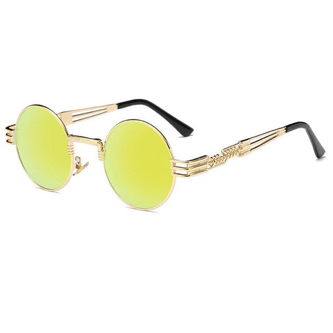 Steampunk Sunglasses Luxury Men Round Sun glass Coating Glasses Metal Vintage Retro Lentes  of Male 16 colors - ShopyMart