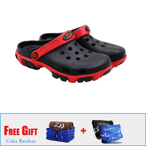 Daiwa Men Summer Non-slip Beach Sandals Outdoor Sports Slippers Shoes Breathable Beach Hollow Holes Slippers Pesca Equipment - ShopyMart