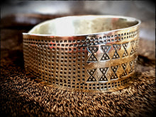 Load image into Gallery viewer, Viking Saxon Celtic Stamped Brass Bracelet Arm Ring Cuff