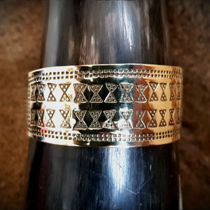 Viking Saxon Celtic Stamped Brass Bracelet Arm Ring Cuff