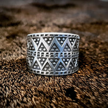 Load image into Gallery viewer, Viking Pewter Replica Ring. Design taken from Norse/viking museum