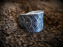 Load image into Gallery viewer, Viking Pewter Replica Ring on a sheep skin. This Jewellery has been designed from a Viking Age ring that was discovered in Birka, a Viking trading post.
