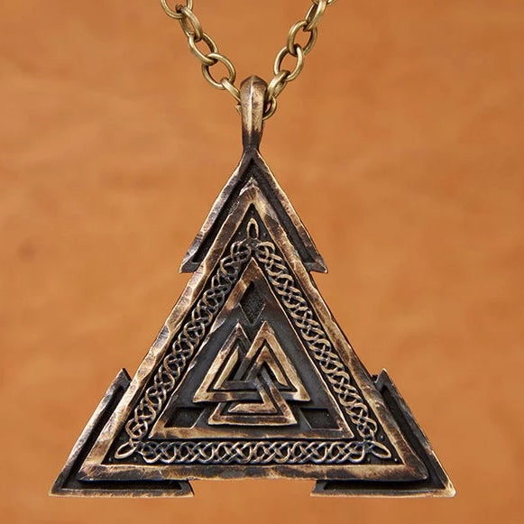 Large Viking Valknut Warrior Pendant Necklace