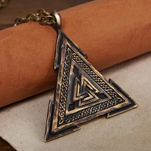 Load image into Gallery viewer, Large Viking Valknut Warrior Pendant Necklace