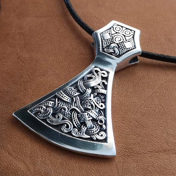 Viking Axe Pendant 925 Sterling Silver Warrior Necklace