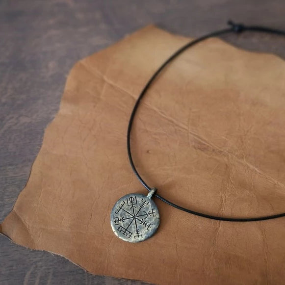 Handcrafted Nordic Vegvisir Pendant Necklace
