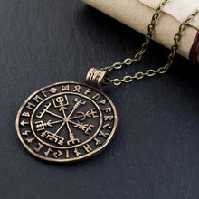 Load image into Gallery viewer, Viking Compass Vegvisir With Runes Necklace Pendant