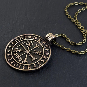 Viking Compass Vegvisir With Runes Necklace Pendant