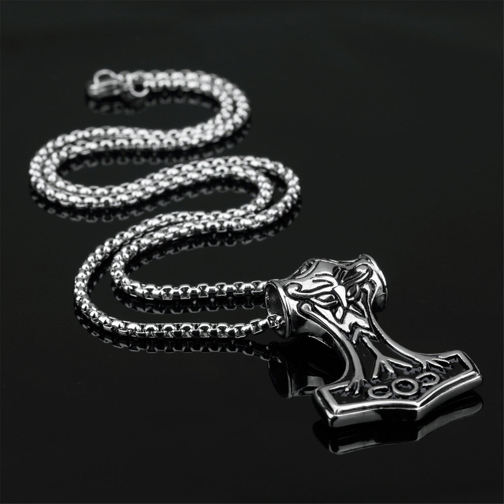 Titanium Steel Nordic Mjolnir Protection Rune Pendant Necklace