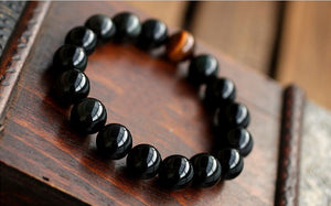 Natural Black Onyx with Tiger eye Stone Bead Bracelet