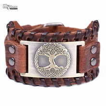 Load image into Gallery viewer, Viking Leather Bracelets With Bronze World Tree Metal Engraving