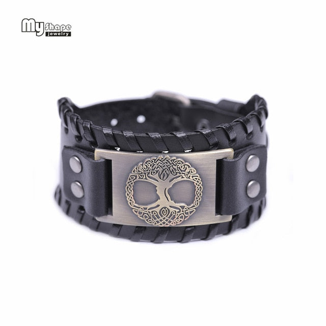 Viking Leather Bracelets With Bronze World Tree Metal Engraving