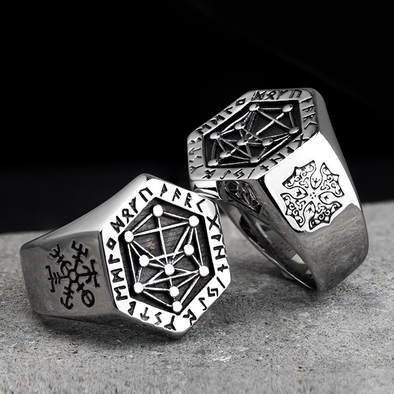 Stainless Steel Nordic Runes Ring