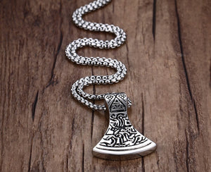 Stainless Steel Nordic Axe Head Pendant Necklace