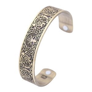 World Tree Engraved Viking Plated Bracelets