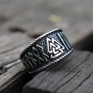 Stainless Steel Valknut Ring with Runes