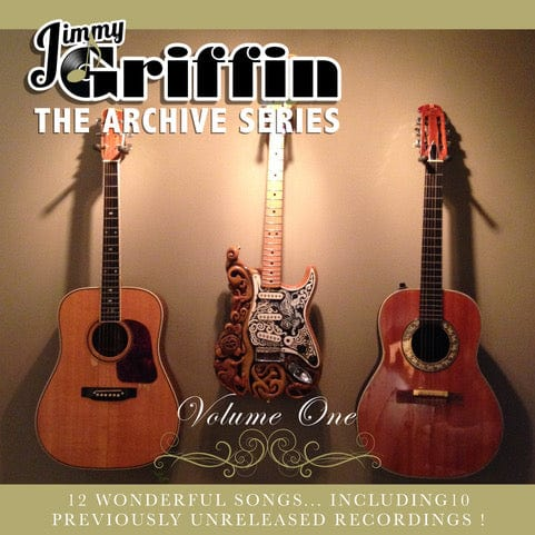 Picture of Jimmy Griffin's album cover from Wraysong Records with three guitars and green border.