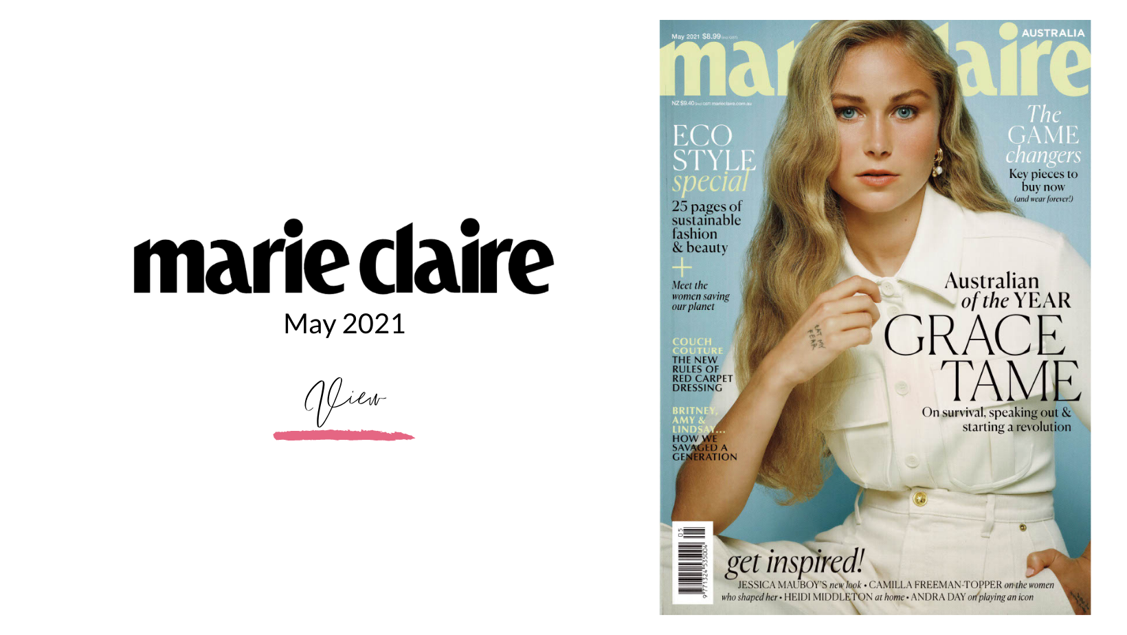 Cover of Marie Claire Magazine with Grace Tame on the cover dated May 2020