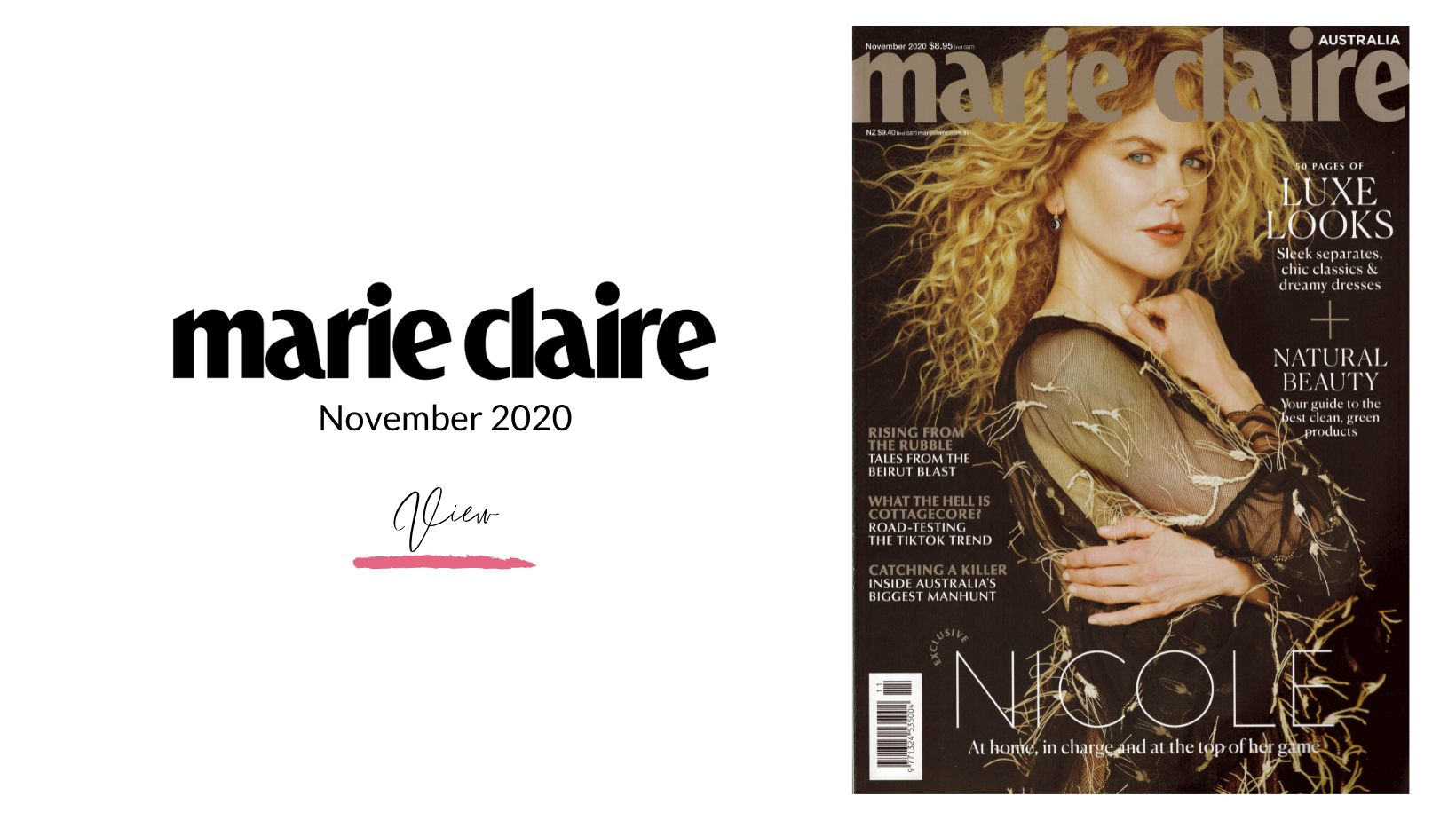 Cover of Marie Claire Magazine with Nicole Kidman on the cover dated November 2020