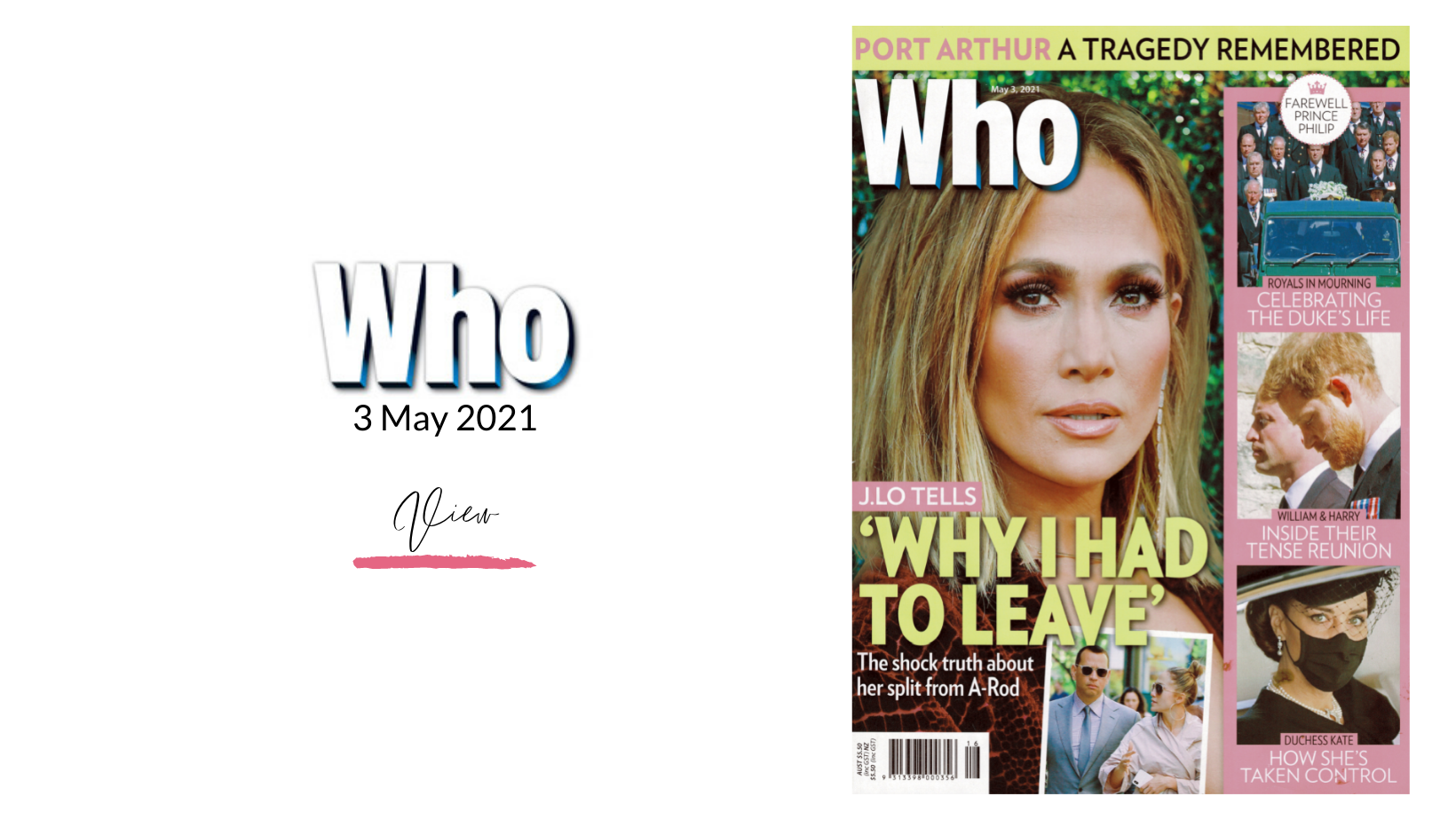 Cover of Who Magazine with Jennifer Lopez dated 3rd May 2020