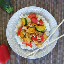 Load image into Gallery viewer, Chicken Breast Zucchini Onion Red Peppers Homemade Stir-fry Sauce Jasmine Rice Meal Prep