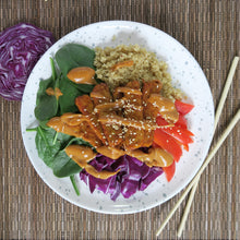Load image into Gallery viewer, Smoked Tempeh White Quinoa Red Peppers Spinach Purple Cabbage Peanut Sauce Meal Prep