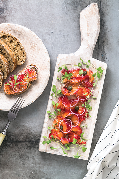 Beetroot and Gin Cured Salmon - Delicious!