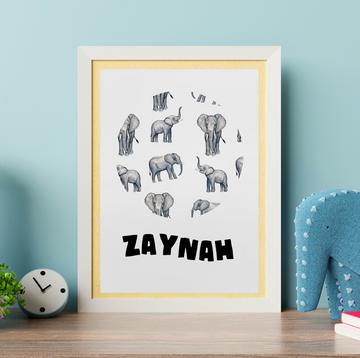Customisable Elephant Poster Print - Project Panda Kids