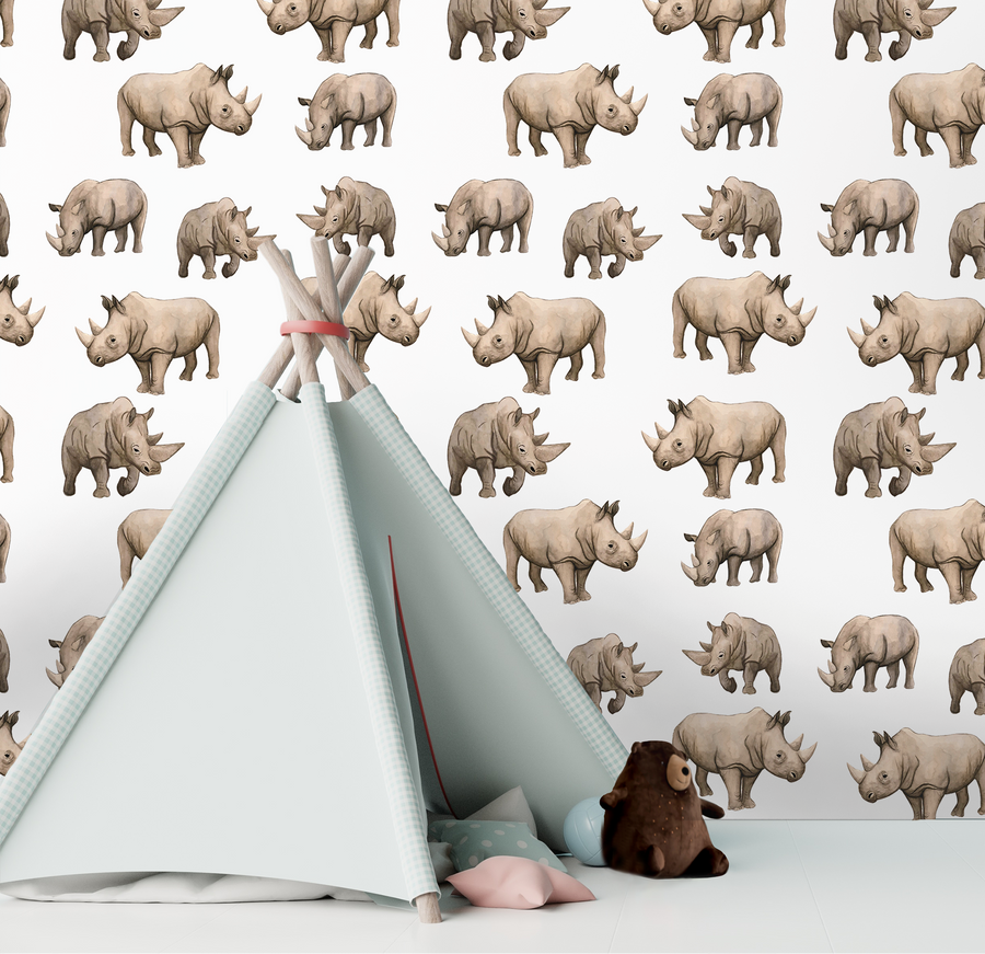 Rhino Print Wallpaper - Project Panda Kids