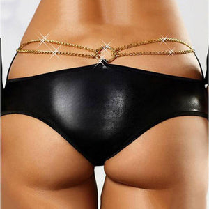 Plus Size Sexy Black Faux Leather Sequin Chain Panties