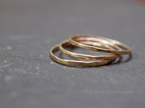 Delicate gold stacking rings - The Silver Grasshopper