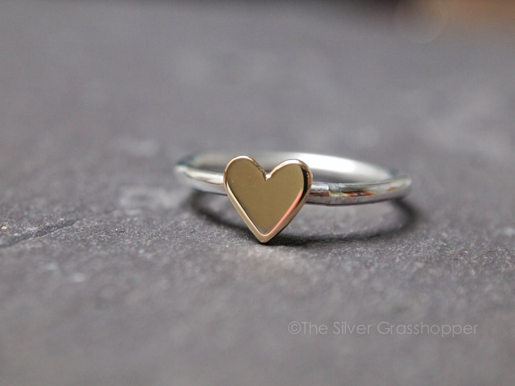 Gold heart and Sterling silver ring - The Silver Grasshopper