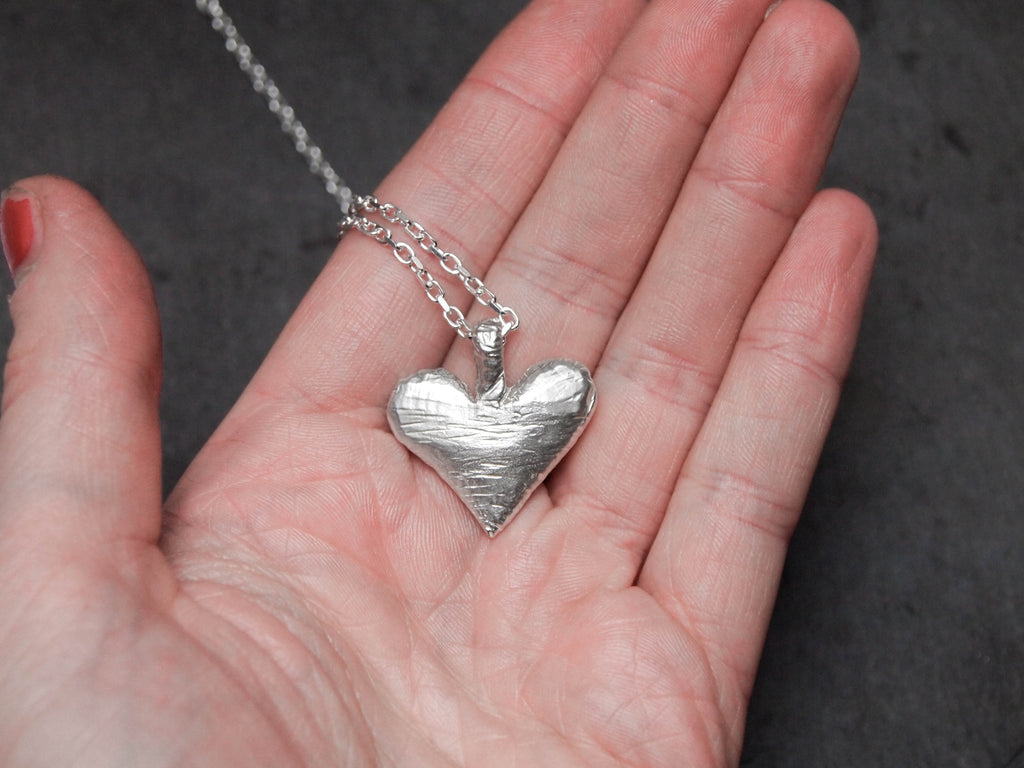 Chunky heart pendant the silver grasshopper solid silver medi heart pendant the silver grasshopper aloadofball Image collections