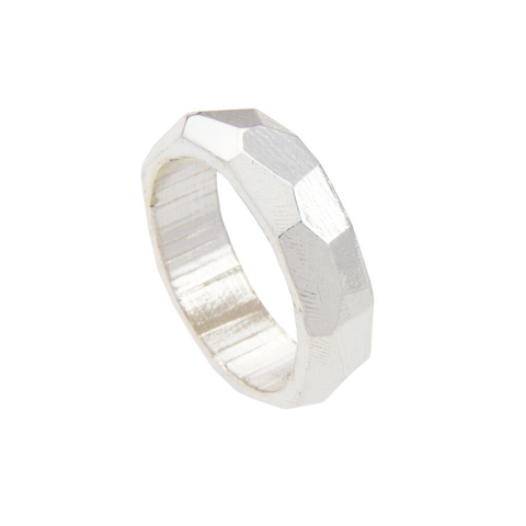 Chunky faceted silver ring