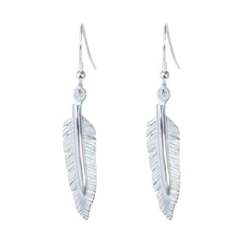 Solid silver feather drop earrings