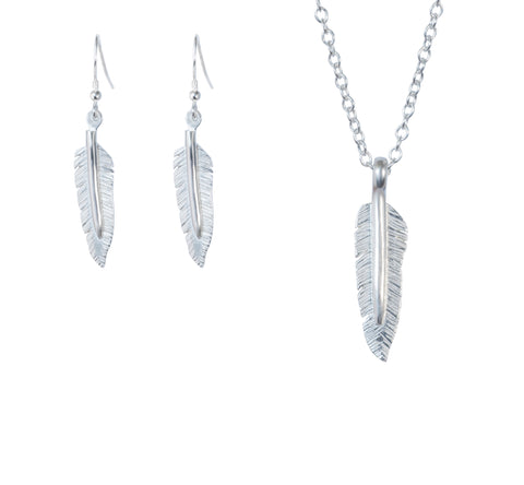 Feather pendant and drop earring set