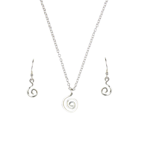 Silver spiral pendant and earrings