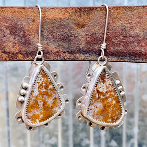 Crazy Lace Agate Triangle Earrings with Ochre Striations