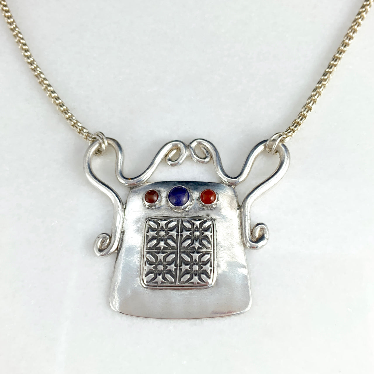 Tribal Spirit Lock Pendant with Lapis & Carnelian Necklace