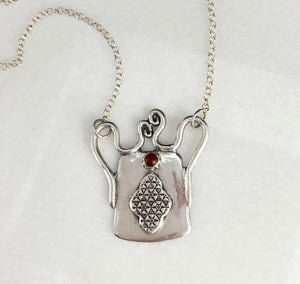 Small Tribal Spirit Lock Pendant with Carnelian Necklace