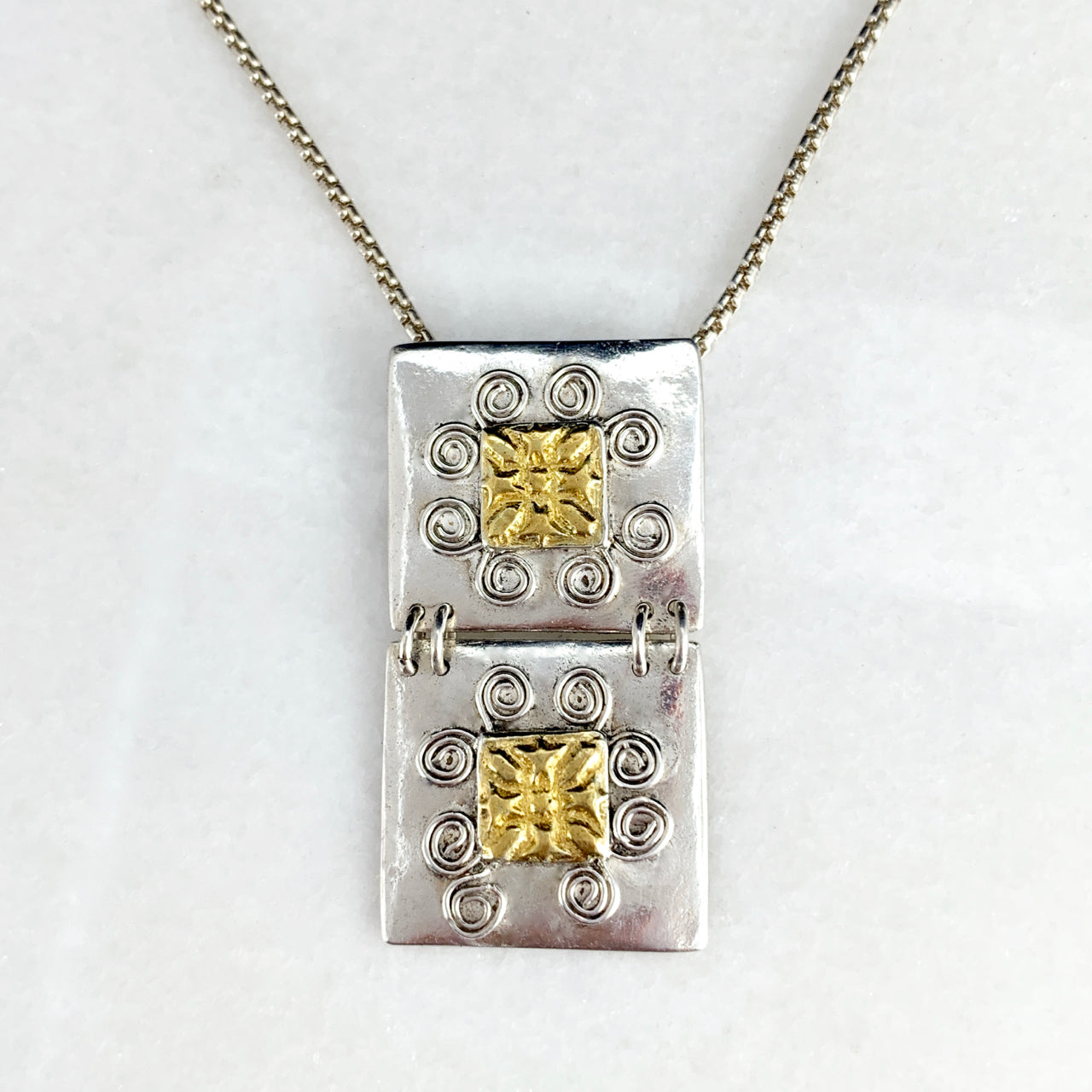 16 Spirals Tablets 24K Gilded Pendant Necklace