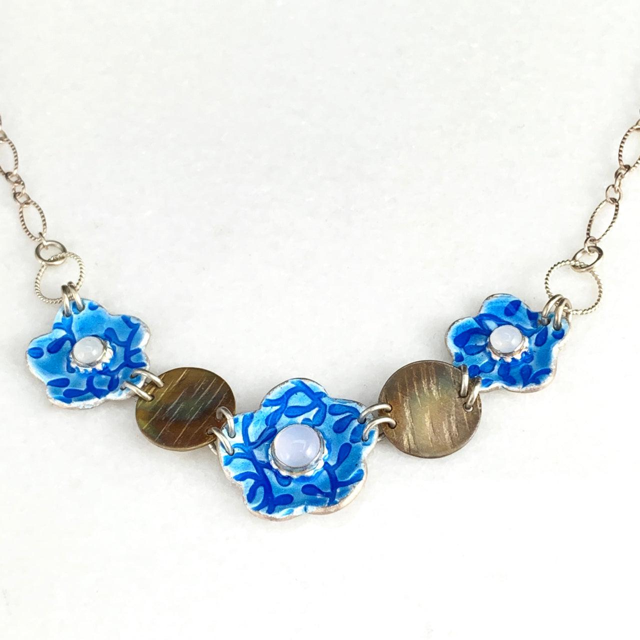Chain of Flowers Enameled Silver Necklace