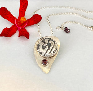 SOLD - Shield Pendant Necklace with Garnet