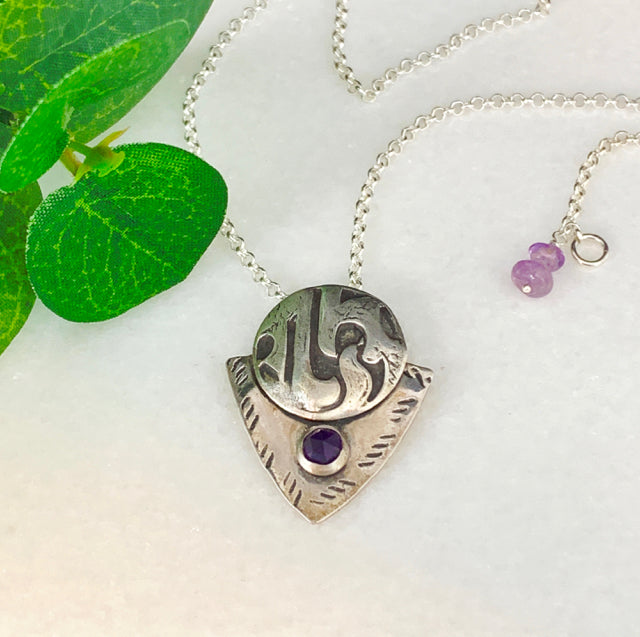 Shield Pendant Necklace with Amethyst