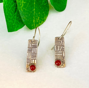 SOLD - Woven Thread Earrings with Carnelian