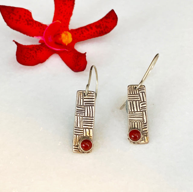 Woven Thread Earrings with Carnelian