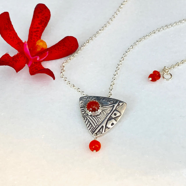 Shield Pendant Necklace with Carnelian