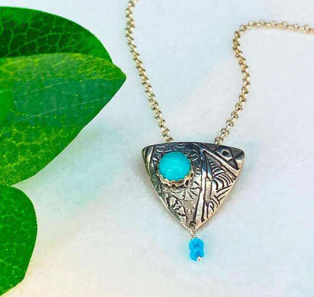 Shield Pendant Necklace with Amazonite